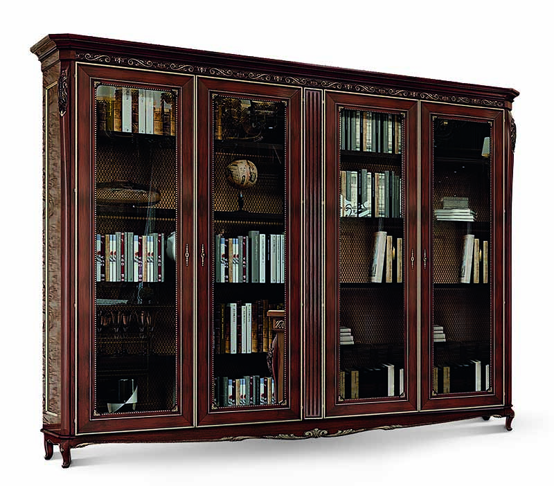 Libreria Chiusa Con Ante In Vetro.Libreria Quattro Ante Vetro 5035 Bakokko Group Luxury Furniture