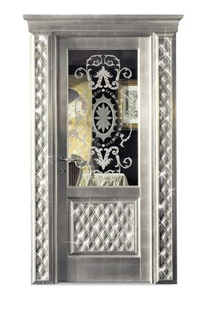 Bakokko_Classic-Doors-hinged-door-with-inner-frame-frescoed-panel-with-swarovski-crystal-capitonne_DR300SW_V1B