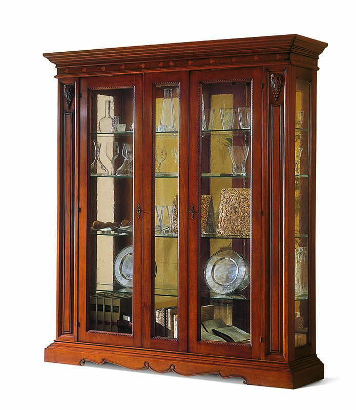 Two Doors Glass Display Cabinet Fixed Center Inlay 1456v2
